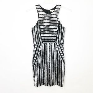 JUST ME Striped Bodycon Party Cocktail Dress